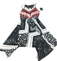 Heart Soul Womens New Black White Pink Sleeveless Dress Blouse Size Large