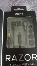 iWorld RAZOR Headphones Black earbuds with mic ERZ-1000 for all phone models