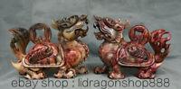 "8,8""naturel Xiu rouge jade sculpté Feng Shui Dragon tortue richesse Statue paire"