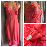VTG Society Lingerie Slip Pink Nylon Rockabilly Lace Bodice Fancy Lace Hem Sz 34