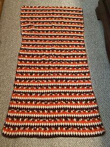 "Vintage Hand Made Crochet Blanket Afghan Orange Brown White 41"" x 72"" Rectangle"