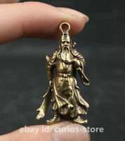 40MM Small Curio China Bronze Hold Sword Guan Gong Yu Warrior God Amulet Pendant