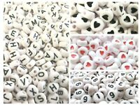 100 -1000 Buchstaben A-Z Zahlen 0-9 Alphabet weiß rund Herz rot 7mm Perlen