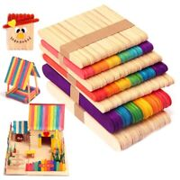 100pcs Colorful Sticks Birch Wood Craft Creative Designs Toys for Kids Children