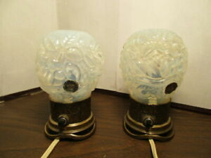 Vintage I W Rice Night Light Pressed Glass Opaque Blue Floral Irice Boudoir Lamp