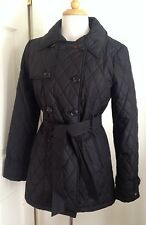NWT Tommy Hilfiger Lightweight Jacket Coat Belted Double Breasted Black M