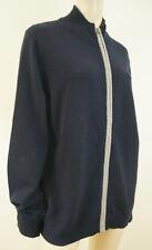 FACONNABLE Menswear Azul Marino y Gris Lana De Cordero Cremallera Frontal Cardigan Tejido Talla: XL