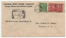 { US Stamp Dealer Cover Central Iowa Stamp Company Marshalltown, IA 1938