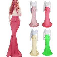 Crew Neck Patternless Regular Size Ballgowns for Women