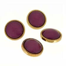 4 gold tone milled edge nice purple colour dome centre sewing craft buttons 22mm