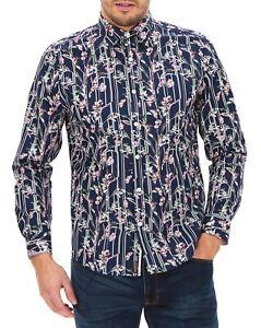 JOE BROWNS Navy Floral Shirt Sleeve Shirt   UK 2XL  Chest 52/54    (FS103-10)
