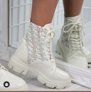 New Womens Printed Knit Lace Up Chunky Sole Biker Ankle Boot Shoes