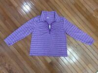 Bobbie Brooks Womens Long Sleeve Purple Striped Top Blouse Shirt Size 2 XL