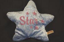 "Star Shaped Pillow Blue Pink Metallic 10"" Plush Dan Dee Stuffed Throw Bed Lovey"