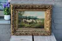 Jef Louis Van Leemputten Belgian, 1865-1948 oil canvas antique painting sheep