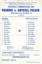 Reading v Crystal Palace Reserves Programme 18.10.1967 Combination Cup