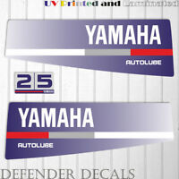 Yamaha 25 HP AUTOLUBE outboard engine decal sticker Set Kit reproduction Blue