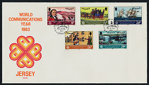 Jersey 310-4 on FDC - World Communications Year, Ships, Horse & Coach, Military