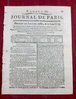 Rabbin de Bordeaux 1788 Rare Journal De Paris Judaïca