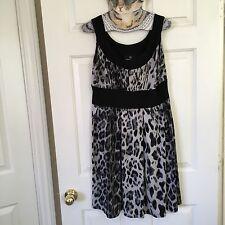 Women's Ronnie Nicole 8 Snow Leopard Dress Banned Waist Jersey Cute Cocktail