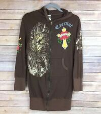 Ed Hardy Womens Graphic Hoodie Sz M Brown Cross Heart Roses Eternal