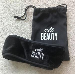 Cult Beauty Black Soft Wraparound Headband & Drawstring Pouch / Makeup Skincare