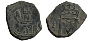 1566  Spain Coronado Castle  Monogram Coin - Philip II  (01530)