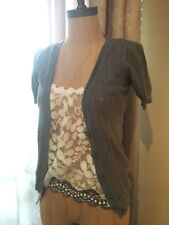 NWT Forever 21 Short Sleeve Patterned Grey Button Up Sweater Cardigan Size S