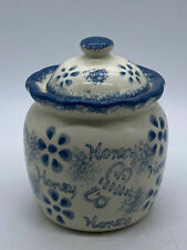 More details for pretty vintage blue and white hand painted ceramic honey/jam jar