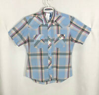 Wrangler Large Medium Blue Gray Pink Plaid Short Sleeve Snap Front Shirt Western