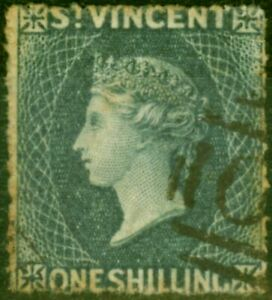 St Vincent 1866 1s Slate-Grey SG9 Good Used