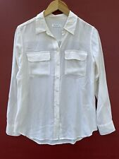 Equipment Femme Silk Top Small White Ivory Long Sleeve Button Down Shirt FLAW