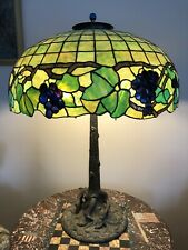 """30"""" Antique Unique Tree Trunk Lamp Base + Grape Leaded Shade -possible shipping"""