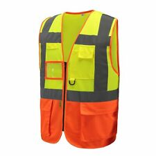 HiVis High Visibility Executive Work Safety Zip Vest Pocket waistcoat (L, Y&O)