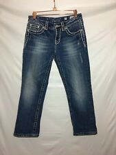 Miss Me Easy Capri Jeans Womens Size 27 Distressed Rhinestones Blue
