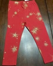 Baby Gap Toddler Girls Red Leggings With Gold Stars Size 4T