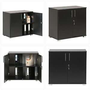 MMT Furniture Designs Black Office Storage Cupboard Desk Height 2 Door Bookcase