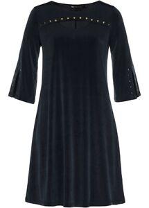Shirtkleid Kleid A-Linie Damenkleid Minikleid Nieten Cutout Halbarm 40 42 #244