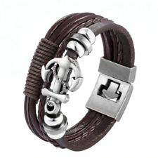"Lederarmband Armband Bracelet ""Neu"" Braun Anker Männer Frauen ""Surfer Style"""
