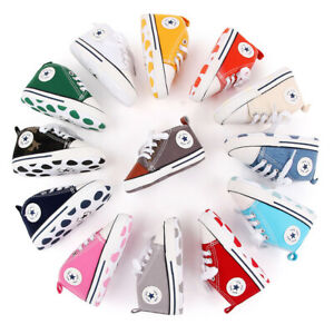 Infant Baby First Pram Soft Sole Sneaker Cotton Crib Converse Casual Walker 0-6m