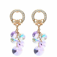 Rose Gold Plated Drop Dangle Earrings Made With Purple Lilac Swarovski Crystals