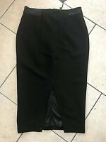 Oui Designer Lined Black Fitted Stretch Pencil Midi Skirt Front Split Sz 10 BNWT