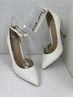 ALDO White Ankle Strap Pumps High Heel Shoes Women's Size 6.5 , 37 EU Stilettos