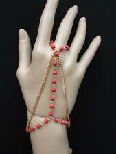 WOMEN GOLD FASHION 3 STRANDS HAND CHAINS SMALL HOT RED BEADS BRACELET SLAVE RING