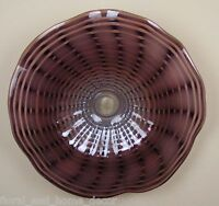 "23"" Hand Blown Art Glass Table Platter Plate Bowl Grey Purple Wall Hanging Mount"