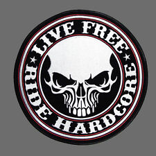 RIDE HARDCORE SKULL ROUND HOOK 4 INCH EMBROIDERED PATCH