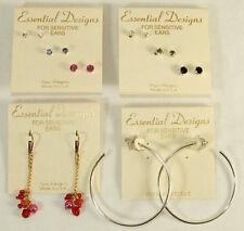 Essential Designs 8 Pairs Earrings Lot Hoop Studs Dangle Hypoallergenic Made USA
