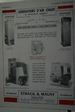 Pub Ad 1948 chauffage aérotherme  Générateur d'air chaud  STRACK & MAUNY Paris