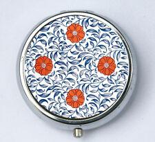 Floral Pattern #2 PiLL case pillbox pill holder flowers blue orange art nouveau