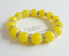 TALBOTS YELLOW FAUX PEARL CUT CRYSTALS STRETCH BRACELET NWT
